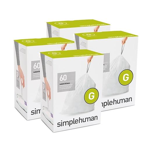 simplehuman Code G Custom Fit Trash Can Liner, 30 Liter / 8 Gallon, 240 Bags/Box (CW0257)