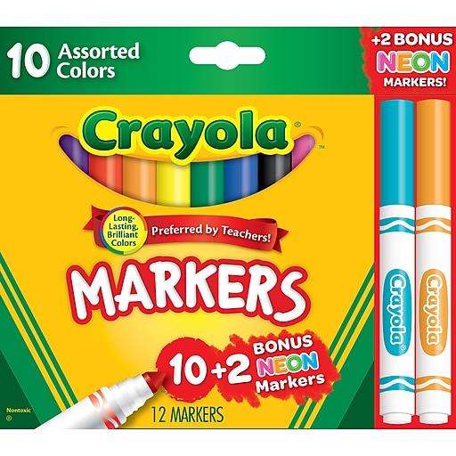 Crayola Markers Assorted colors Bonus Pack, 12/Box (58-7750)