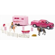New Ray Pink Pick Up Truck With Horse Trailer Playset, Pack Of 6 (Nwrt032)