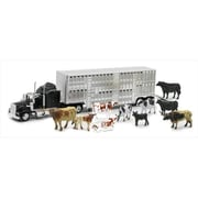 New Ray Livestock Hauler With Farm Animals Playset, Pack Of 6 (Nwrt028)