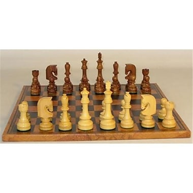 Worldwise Imports Traditional Russian Sheesham Chess Set With Antique Map Faux Leather Board (Wwi22641)