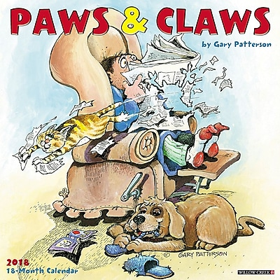 """""2018 Willow Creek Press 12"""""""" x 12"""""""" Paws & Claws by Gary Patterson Wall Calendar (45764)"""""" 23996963"