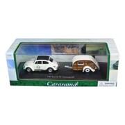 Cararama 1 By 43 Diecast Volkswagen Beetle 53 With Caravan Iii Trailer In Display Case Model Car (Dtdp2906)