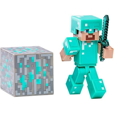 Zoofy International Minecraft Diamond Armor Steve Figure With Accessory, 2.75 In. (Jnsn80075) 23982030