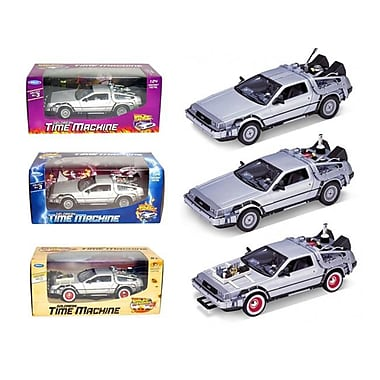 Welly 1 By 24 Scale Collect All Set Delorean Time Machine Trilogy Set Back To The Future, 3 Piece (Dtdp2754)