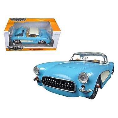 Jada 1 By 24 Scale Diecast 1957 Chevrolet Corvette Sky Blue With Cream Top & Side Model Car (Dtdp3029)