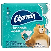 Charmin Flushable Wipes, White, 40 Sheets/Pack, Pack of 4 (79619)