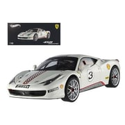 Hot Wheels Ferrari 458 Italia Challenge White No.3 Elite Edition 1-18 Diecast Car Model (Dtdp2368)