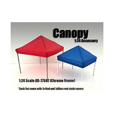 American Diorama 1 By 24 Scale Canopy Accessory Blue & Red With 1 Chrome Frame (Dtdp2791)