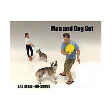 American Diorama Man & Dog 2 Piece Figure Set For 1-18 Scale Models (Dtdp2372)