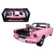 Shelby Collectibles 1965 Ford Shelby Mustang Gt 350R Pink With White Stripes With Racing Engine 1-18 Diecast Model Car Dtdp1013
