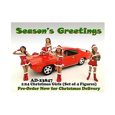 American Diorama Christmas Girls 4 Pieces Figure Set For 1-24 Scale Diecast Model Cars (Dtdp2001)