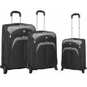 Travelers Club Luggage Lexington Collection- 3 Piece Luggage Set With 360 Degree 4-Wheel System In Black (Trvlr295)