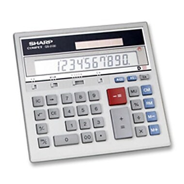 Sharp Electronics 12-Dgt Desktop Calculator- Dual Power- 7-.50in.x6-.88in.x2-.67in.- GY(SPRCH23102)