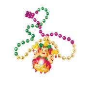 Us Toy Flashing Mardi Gras Beads With Jester Pendant - 23 Per Pack (Ustcyc175249)