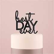 Wedding Star Best Day Ever Acrylic Cake Topper - Black (Wed9505)