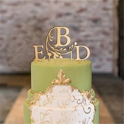 Wedding Star Modern Fairy Tale Monogram Acrylic Metallic Gold Cake Topper, Letter D (Wed9524)