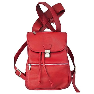 Piel Leather Mens Leather Drawstring Backpack, Red(PIEL1995)