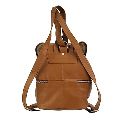 Piel Leather Ladies Double Compartment Leather Backpack,