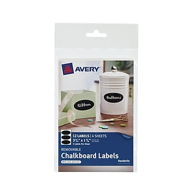 Avery Oval Removable Chalkboard Labels, 3 Packs, 12/Pack (AVE73303)