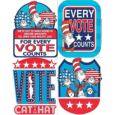Eureka Dr. Seuss Cat in the Hat for President Sticker Badges, 40ct per pk, bundle of 6 packs (EU-659581)