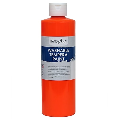 Handy Art® Fluorescent Tempera Paint, 16oz, Pack of 3, Orange (RPC211152)