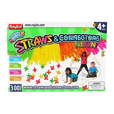Straws & Connectors 300 Pieces Neon Colors, Assorted (R-60705)