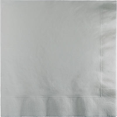 Touch of Color Shimmering Silver Dinner Napkins 3 ply 25 pk (593281B)