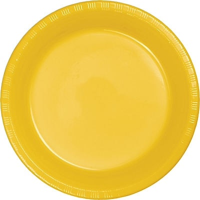 Touch of Color School Bus Yellow Plastic Banquet Plates 50 pk (28102131B)