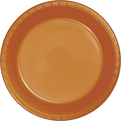 Touch of Color Pumpkin Spice Orange Plastic Dessert Plates 20 pk (324811)
