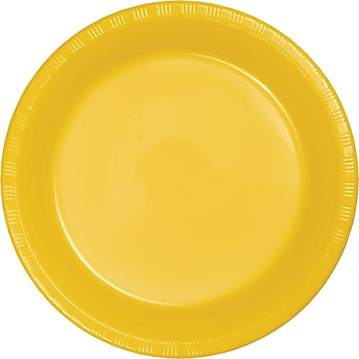 Touch of Color School Bus Yellow Plastic Dessert Plates 50 pk (28102111B)