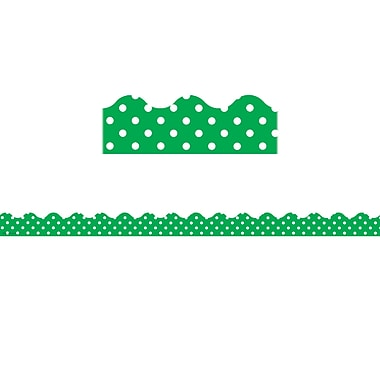 Teacher Created Resources Green Polka Dots Scalloped Border Trim, 12/Pack (TCR5498)