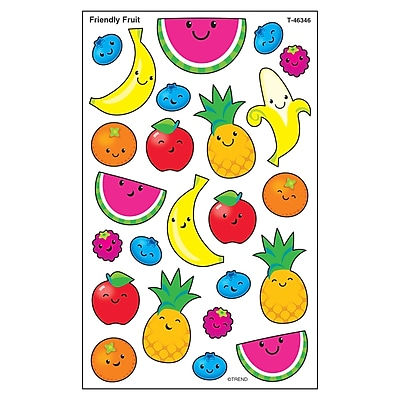 Trend Friendly Fruit superShapes Stickers-Large, 192ct per pk, bundle of 6 packs (T-46346)