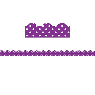 Teacher Created Resources Purple Polka Dots Scalloped Border Trim, 12/Pack (TCR5499)
