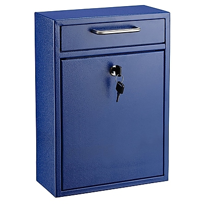 "AdirOffice Blue Ultimate Wall Mounted Large Mail Box 4.7""D x 11.2""W x 16.2""H (631-04-BLU)"