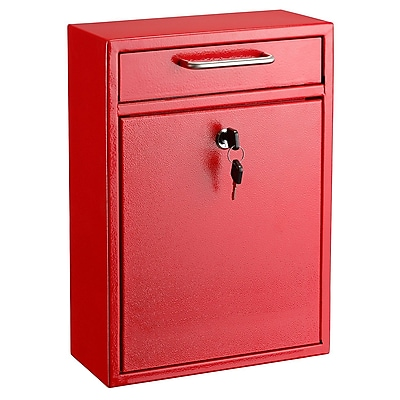 """AdirOffice Red Ultimate Wall Mounted Large Mail Box 4.7""""D x 11.2""""W x 16.2""""H (631-04-RED)"""