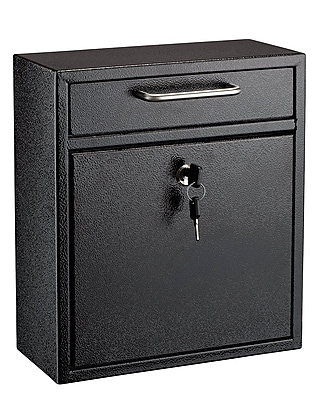 "AdirOffice Medium Ultimate Black Wall Mounted Mail Box 4.5""D x 10.4""W x 12""H (631-05-BLK)"