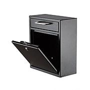 AdirOffice Wall-Mounted Steel Mailbox, Black (631-05-BLK)