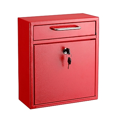 "AdirOffice Medium Ultimate Red Wall Mounted Mail Box 4.5""D x 10.4""W x 12""H (631-05-RED)"