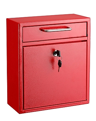 """AdirOffice Medium Ultimate Red Wall Mounted Mail Box 4.5""""D x 10.4""""W x 12""""H (631-05-RED)"""