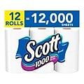 Scott 1-Ply Standard Toilet Paper, White, 1000 Sheets/Roll, 12 Rolls/Case (10060)