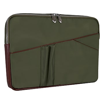 McKleinUSA N Series CRESCENT Nylon Laptop Sleeve for 14  Laptops, Green (18331),Size: small