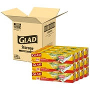 Glad® Zipper Storage Bags, Gallon, 20 Bags/Box, 12 Boxes/Carton (55050)