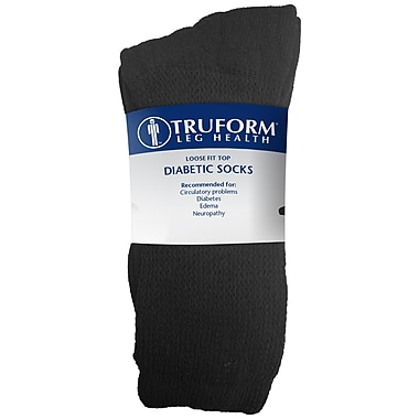 Truform Diabetic Socks, Loose Fit (Pack of 3), Large (1918BL-L)