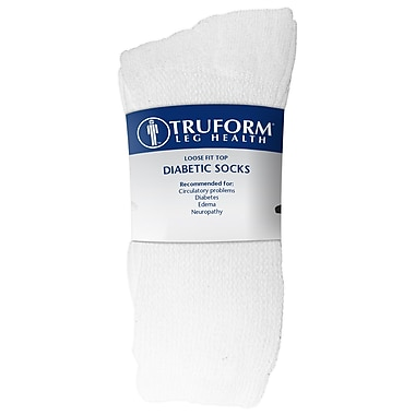 Truform Diabetic Socks, Loose Fit (Pack of 3), Large (1918WH-L)
