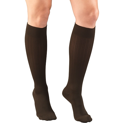 Truform Women's Trouser Socks, Dress Style, Rib Pattern: 15-20 mmHg, L, BROWN (1973BN-L)