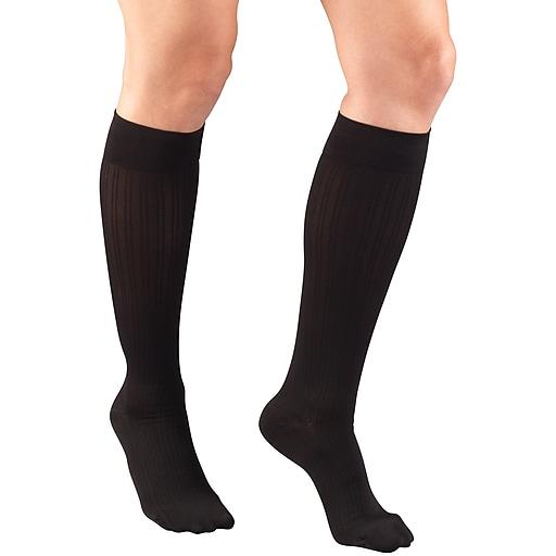 Truform Women's Trouser Socks, Dress Style, Rib Pattern: 15-20 mmHg, XL, BLACK (1973BL-XL)