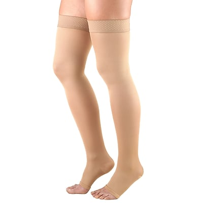 Truform Women's Stockings, Thigh High, Open Toe: 20-30 mmHg, L, BEIGE (0362BG-L)
