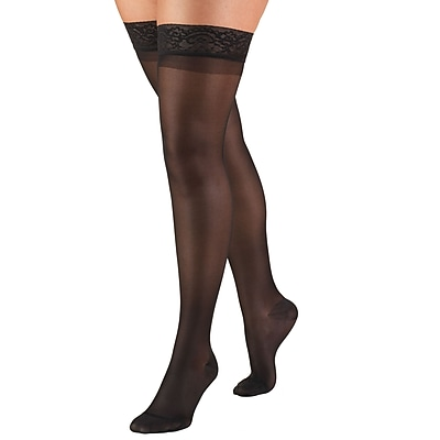 Truform Women's Stockings, Thigh High, Sheer: 15-20 mmHg, L, BLACK (1774BL-L)