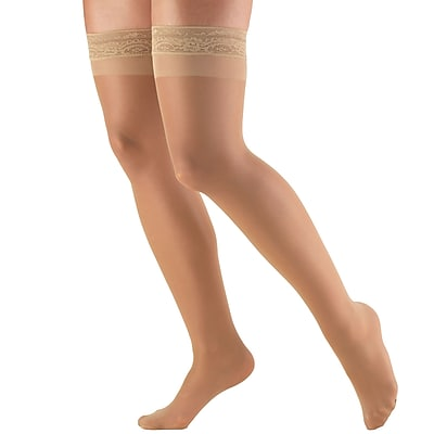Truform Women's Stockings, Thigh High, Sheer: 8-15 mmHg, M, BEIGE (1764BG-M)